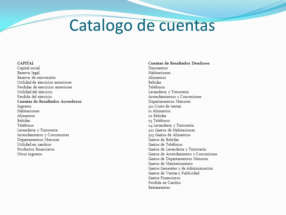 Catalogo de cuentas CAPITAL Capital social Reserva legal