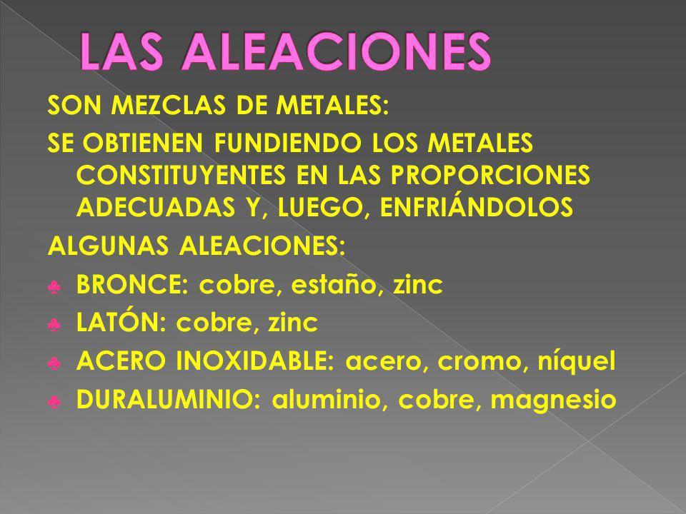 LAS ALEACIONES SON MEZCLAS DE METALES: