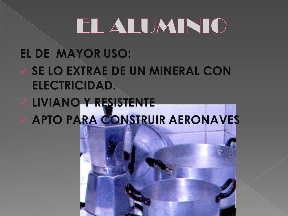 EL ALUMINIO EL DE MAYOR USO: