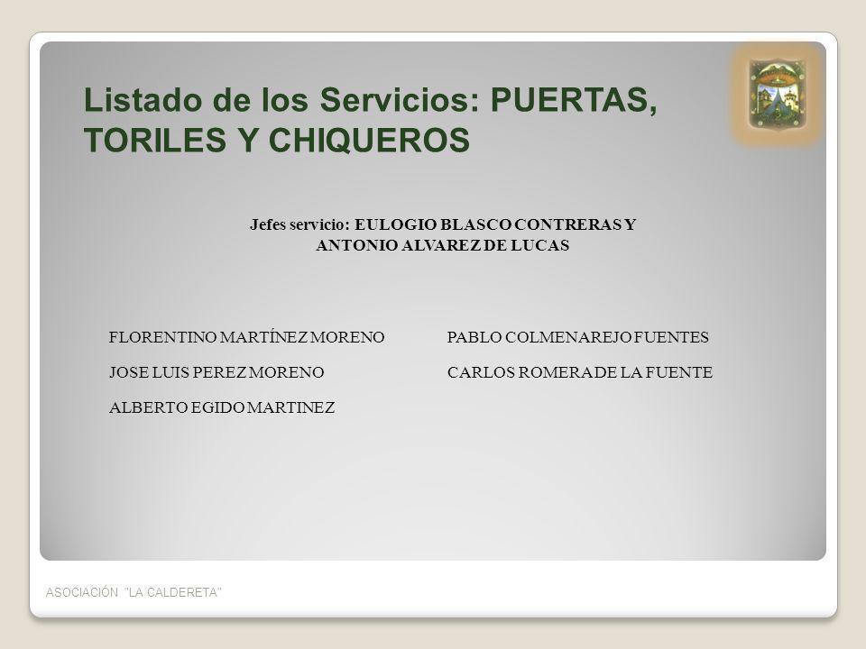Jefes servicio: EULOGIO BLASCO CONTRERAS Y ANTONIO ALVAREZ DE LUCAS