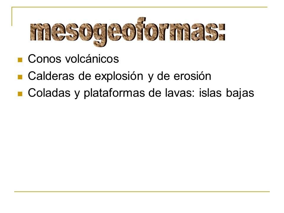 mesogeoformas: Conos volcánicos Calderas de explosión y de erosión