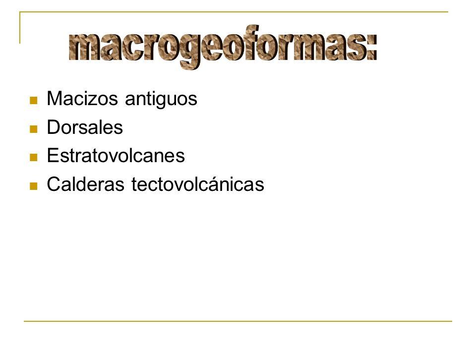 macrogeoformas: Macizos antiguos Dorsales Estratovolcanes