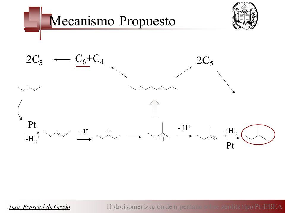 Mecanismo Propuesto 2C3 2C5 C6+C4 Pt Pt + + - H+ +H2+ -H2+ + H+