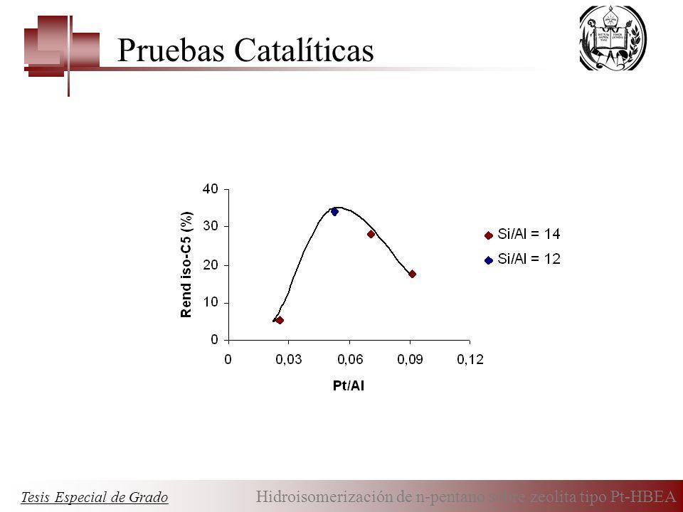 Pruebas Catalíticas Tesis Especial de Grado Hidroisomerización de n-pentano sobre zeolita tipo Pt-HBEA.