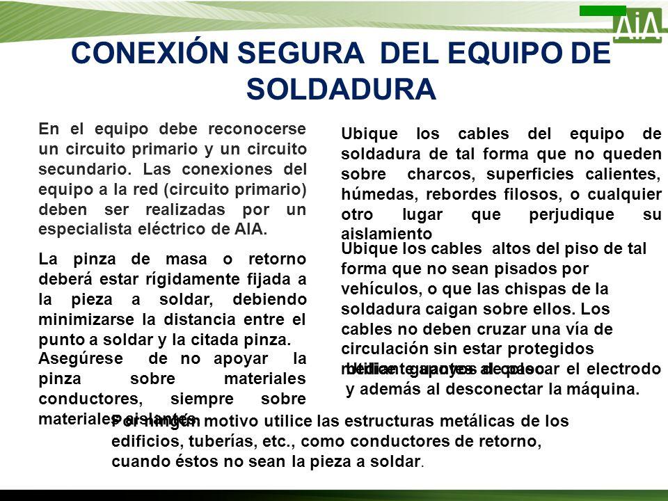 CONEXIÓN SEGURA DEL EQUIPO DE SOLDADURA