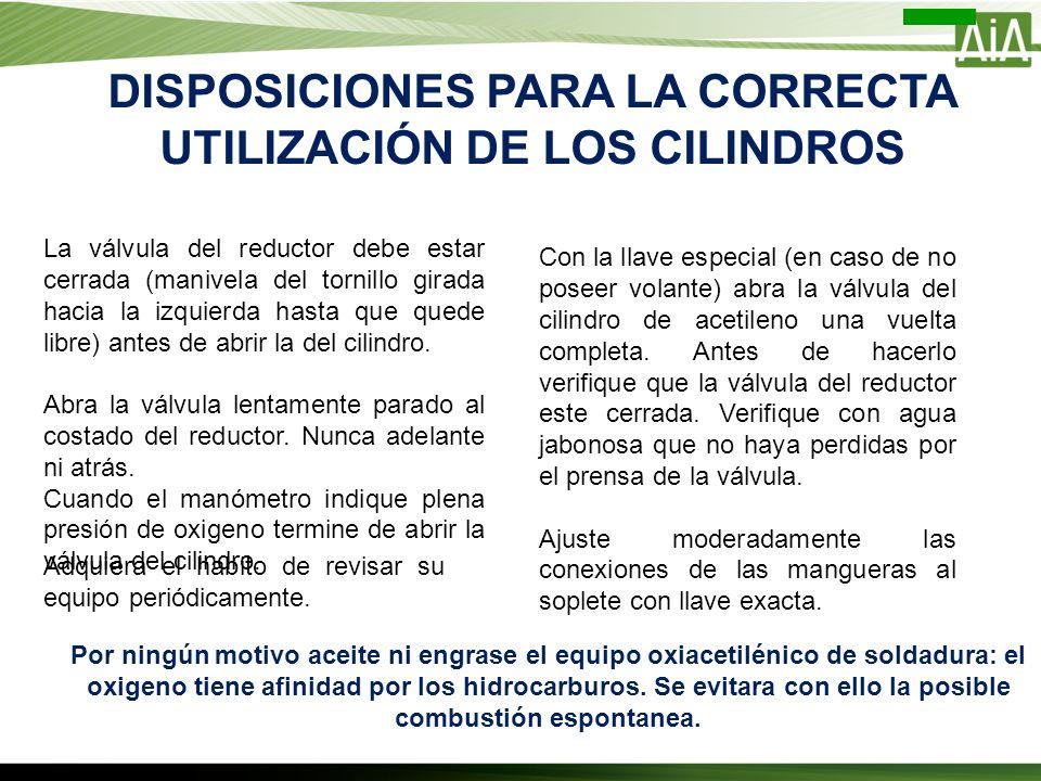 DISPOSICIONES PARA LA CORRECTA UTILIZACIÓN DE LOS CILINDROS
