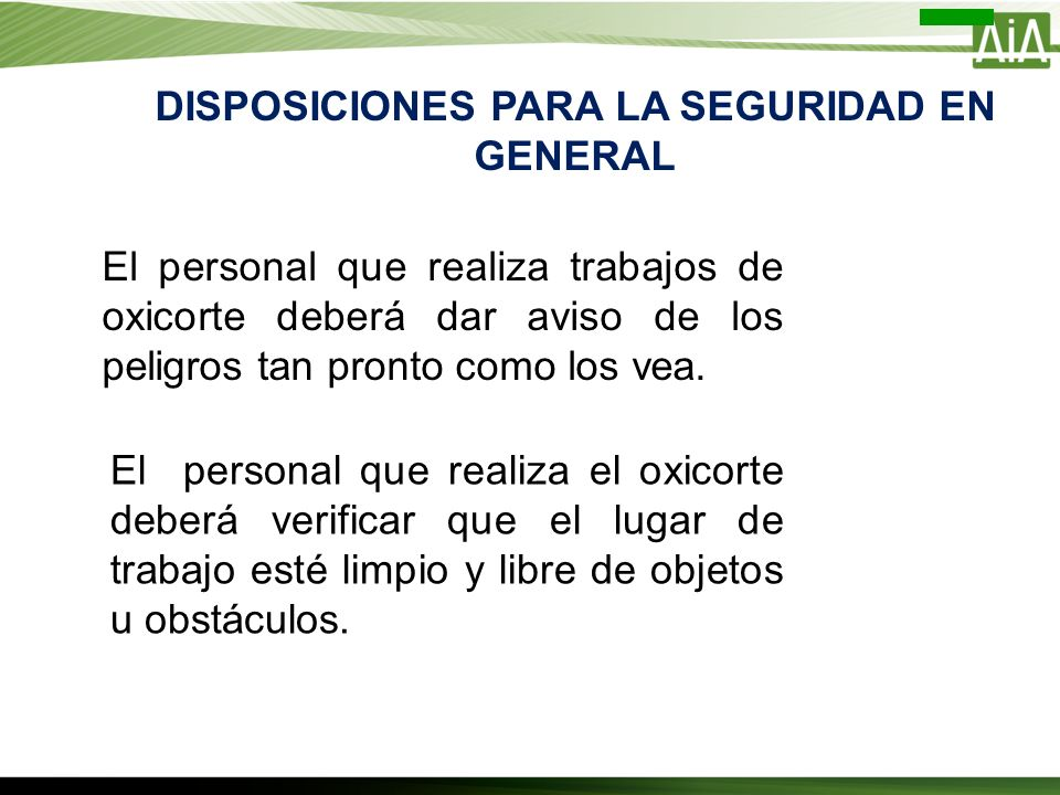 DISPOSICIONES PARA LA SEGURIDAD EN GENERAL