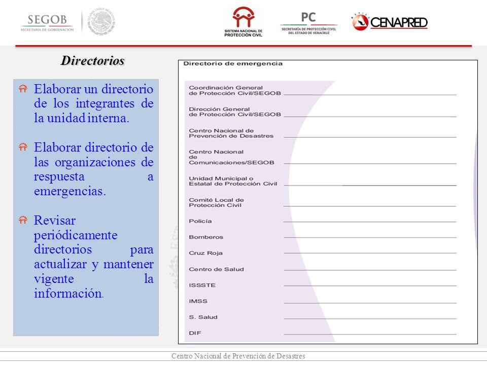 Directorios Elaborar un directorio de los integrantes de la unidad interna. Elaborar directorio de las organizaciones de respuesta a emergencias.