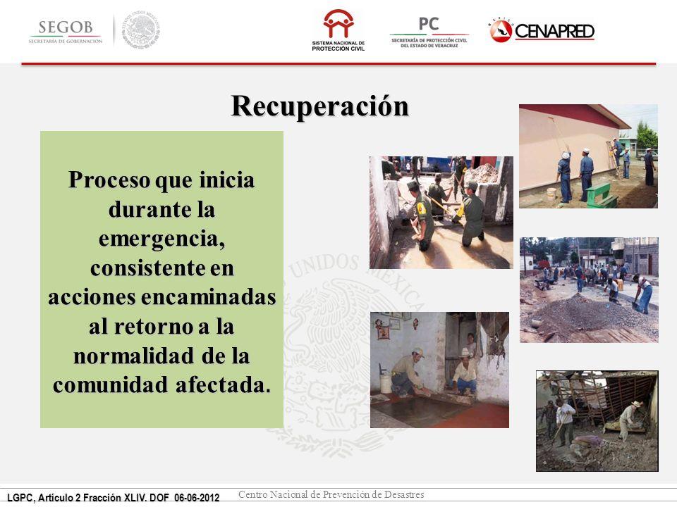 Recuperación Proceso que inicia durante la emergencia, consistente en acciones encaminadas al retorno a la normalidad de la comunidad afectada.