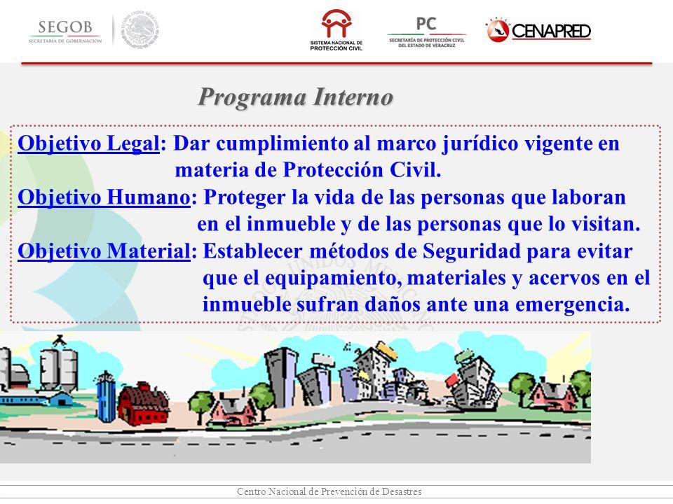 Programa Interno Objetivo Legal: Dar cumplimiento al marco jurídico vigente en. materia de Protección Civil.