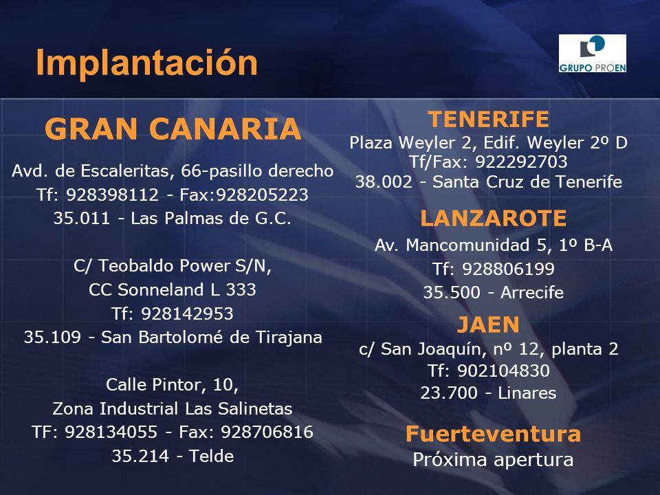 Implantación GRAN CANARIA TENERIFE LANZAROTE JAEN Fuerteventura