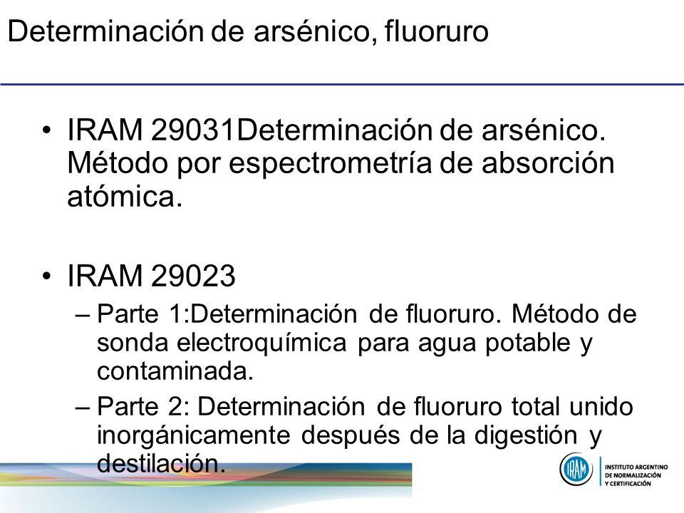 Determinación de arsénico, fluoruro