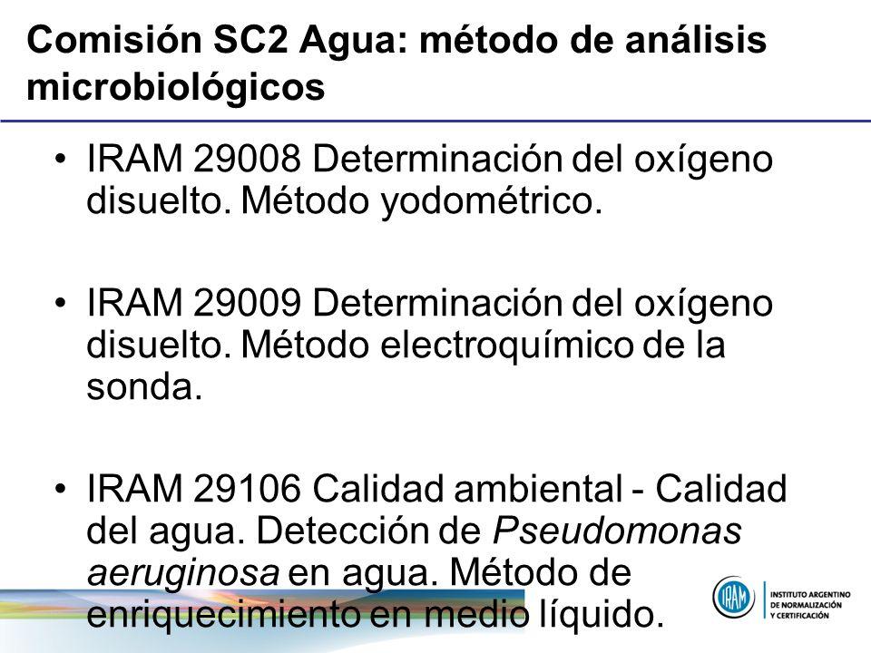 Comisión SC2 Agua: método de análisis microbiológicos