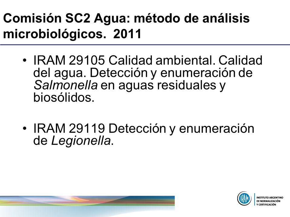 Comisión SC2 Agua: método de análisis microbiológicos. 2011