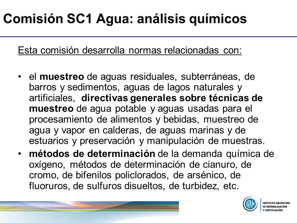 Comisión SC1 Agua: análisis químicos