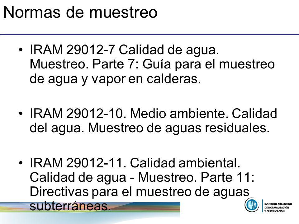 Normas de muestreo IRAM 29012-7 Calidad de agua. Muestreo. Parte 7: Guía para el muestreo de agua y vapor en calderas.