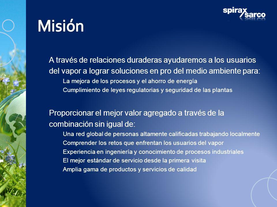 Misión A través de relaciones duraderas ayudaremos a los usuarios del vapor a lograr soluciones en pro del medio ambiente para: