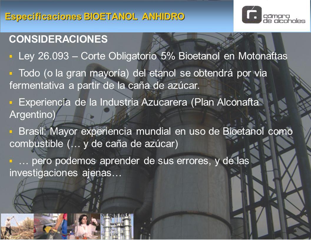 Especificaciones BIOETANOL ANHIDRO