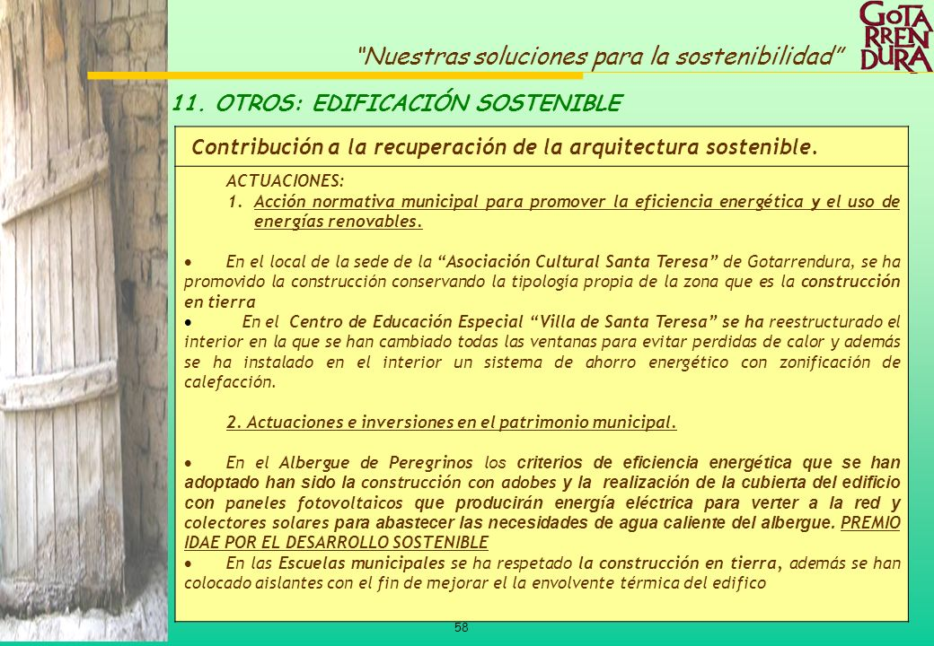 11. OTROS: EDIFICACIÓN SOSTENIBLE