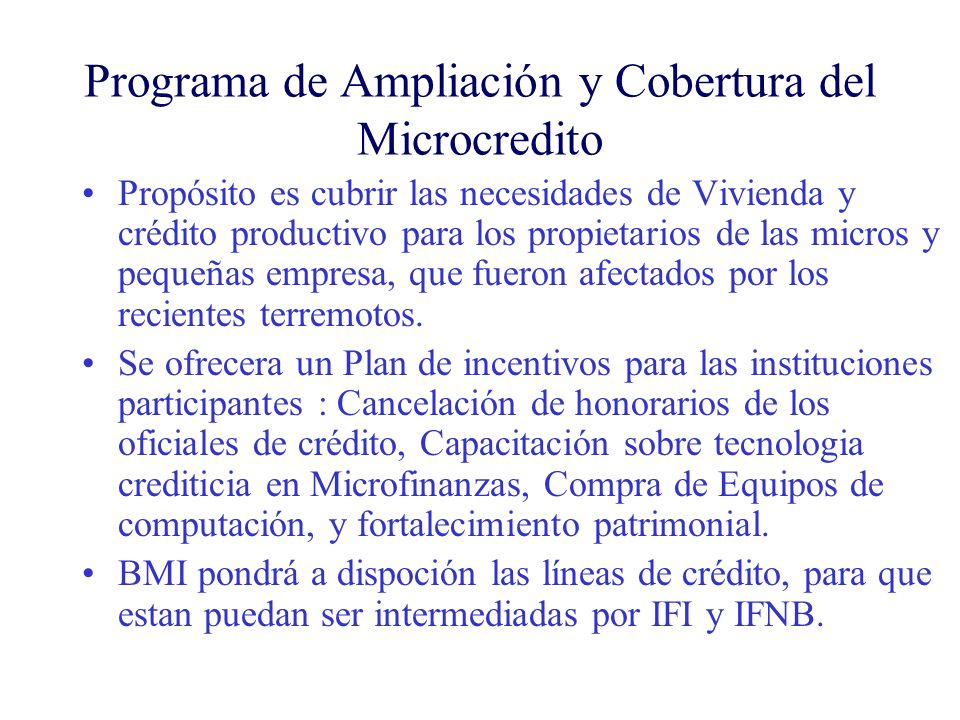 Programa de Ampliación y Cobertura del Microcredito