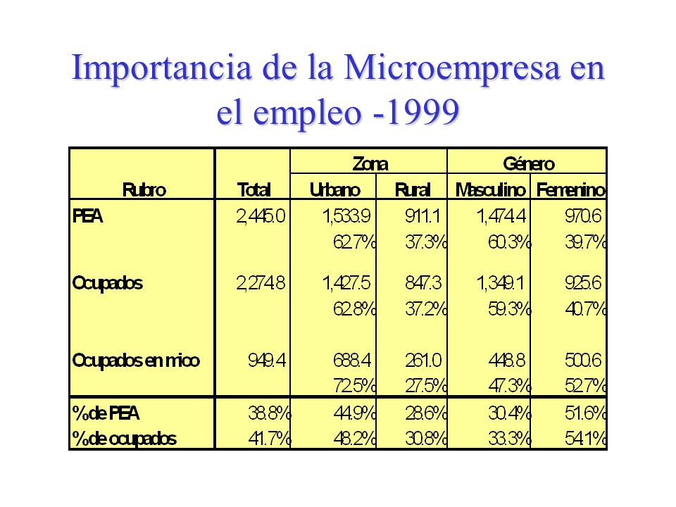 Importancia de la Microempresa en el empleo -1999