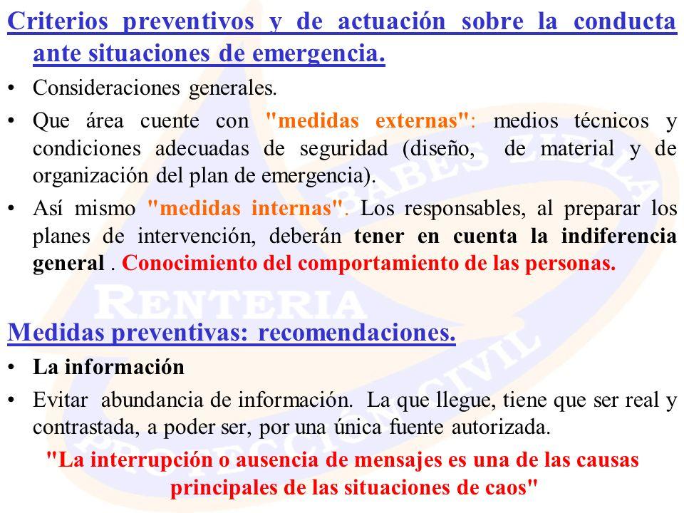 Medidas preventivas: recomendaciones.