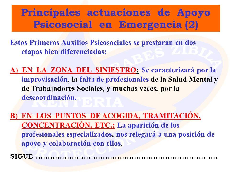 Principales actuaciones de Apoyo Psicosocial en Emergencia (2)