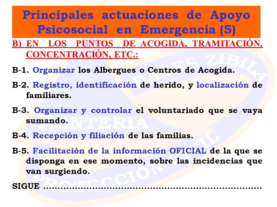 Principales actuaciones de Apoyo Psicosocial en Emergencia (5)