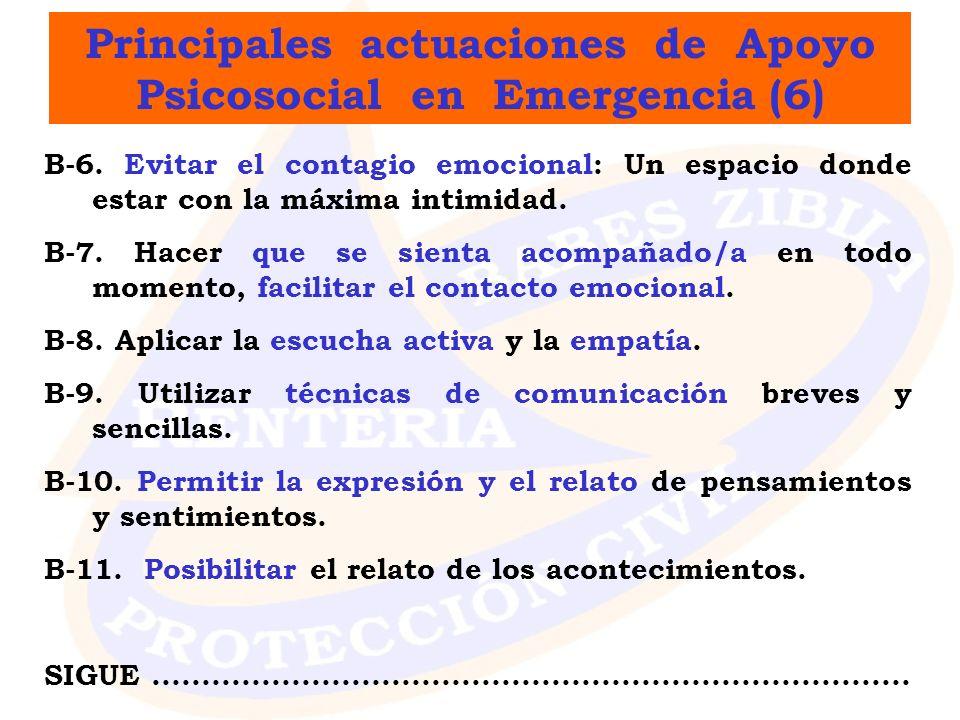 Principales actuaciones de Apoyo Psicosocial en Emergencia (6)