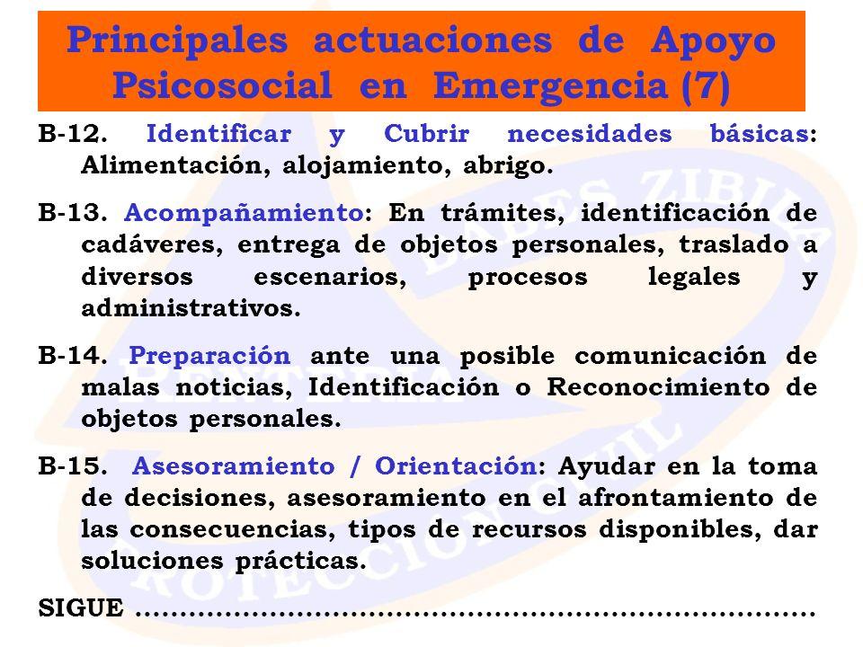 Principales actuaciones de Apoyo Psicosocial en Emergencia (7)