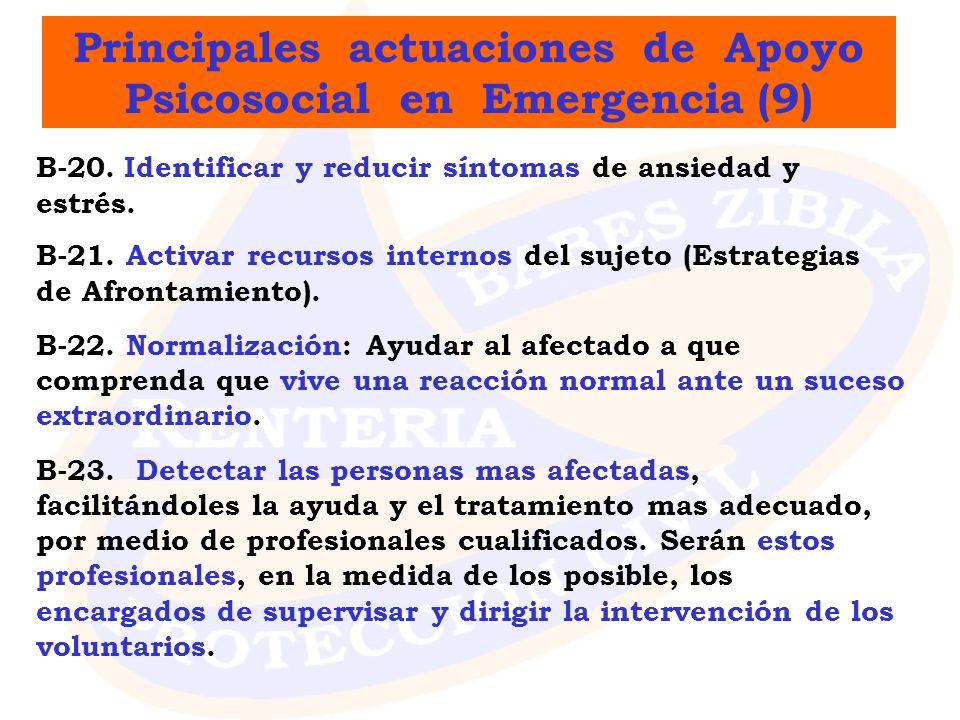Principales actuaciones de Apoyo Psicosocial en Emergencia (9)