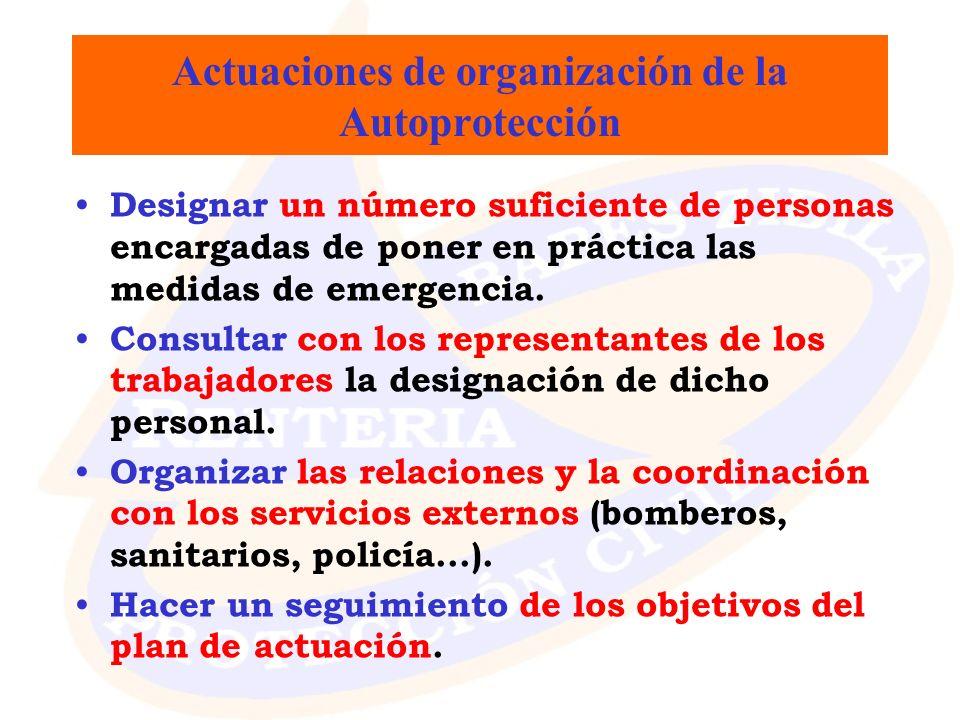 Actuaciones de organización de la Autoprotección
