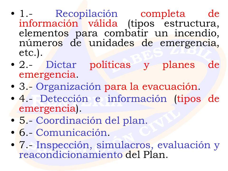 1.- Recopilación completa de información válida (tipos estructura, elementos para combatir un incendio, números de unidades de emergencia, etc.).