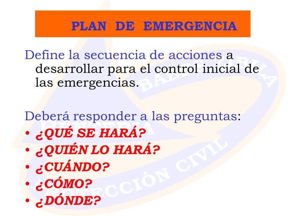 PLAN DE EMERGENCIA Define la secuencia de acciones a desarrollar para el control inicial de las emergencias.
