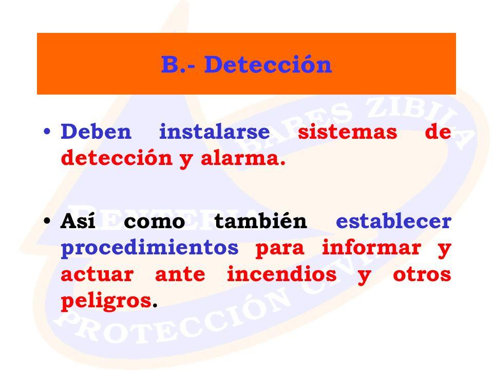 B.- Detección Deben instalarse sistemas de detección y alarma.
