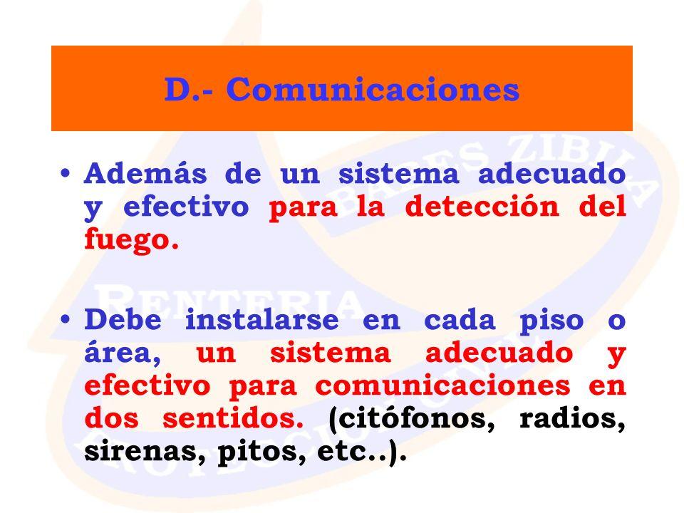 D.- Comunicaciones Además de un sistema adecuado y efectivo para la detección del fuego.