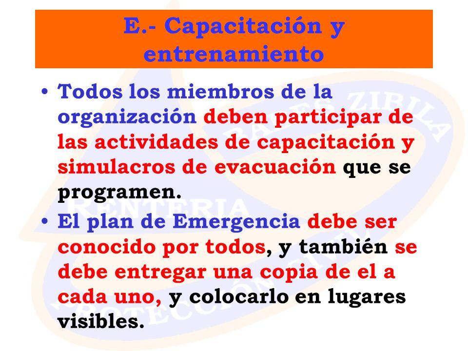 E.- Capacitación y entrenamiento