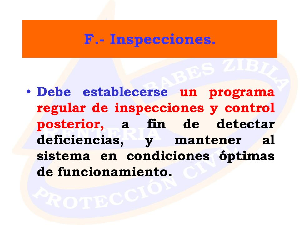 F.- Inspecciones.