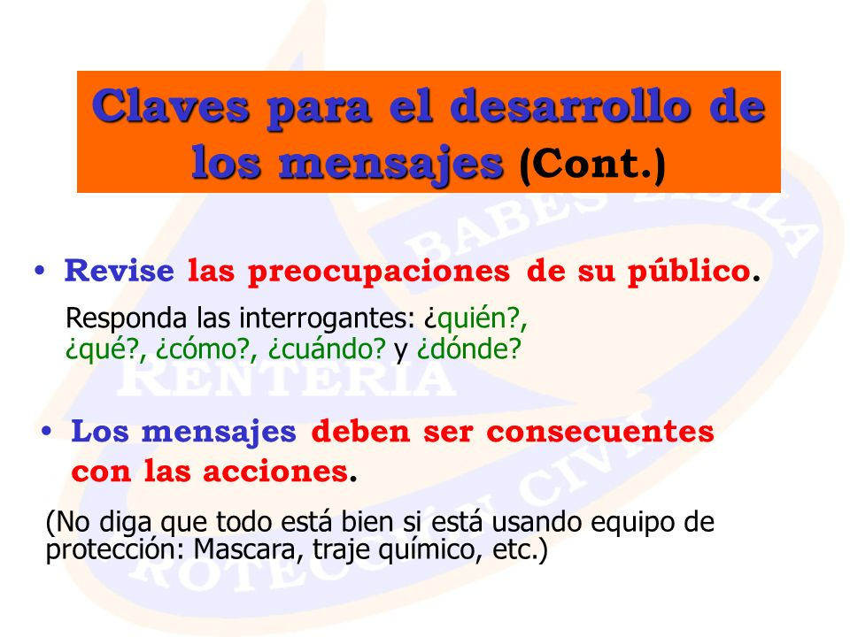 Claves para el desarrollo de los mensajes (Cont.)