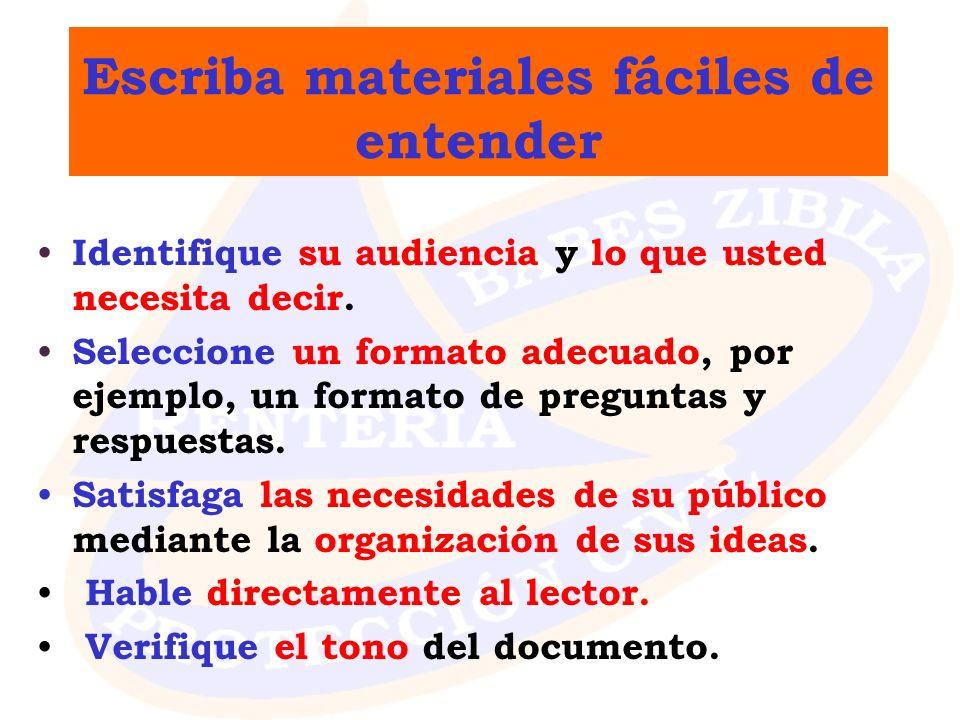 Escriba materiales fáciles de entender