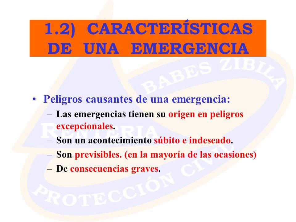 1.2) CARACTERÍSTICAS DE UNA EMERGENCIA
