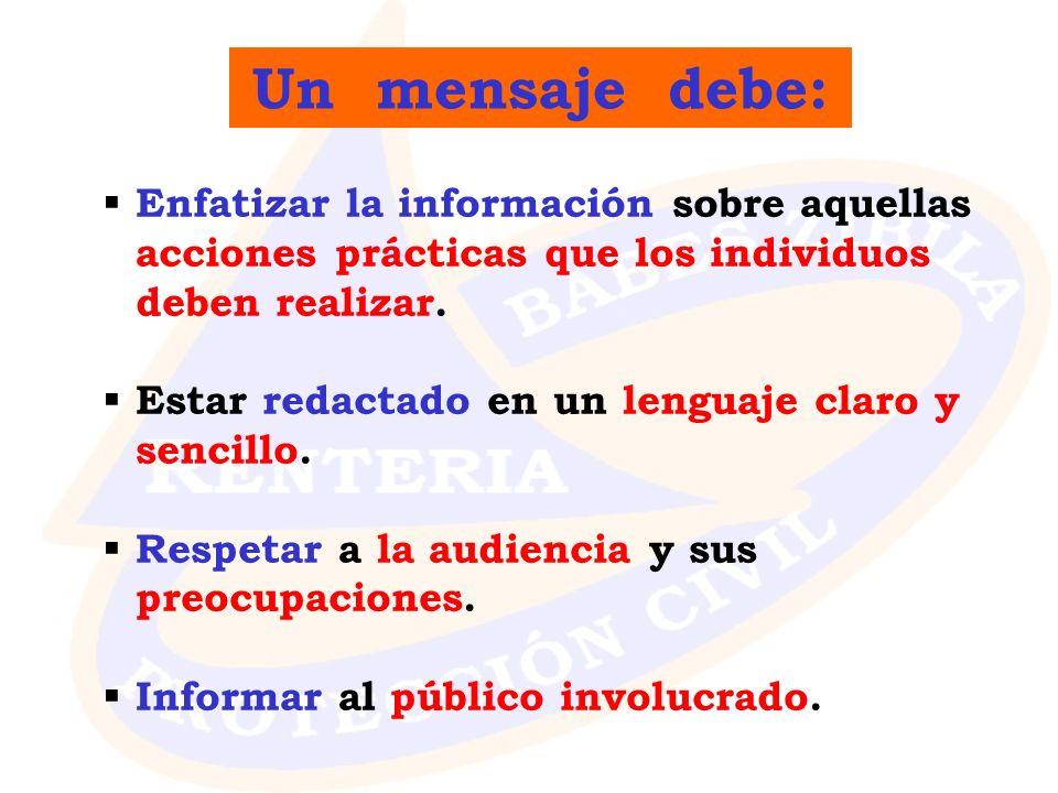 Un mensaje debe: Enfatizar la información sobre aquellas acciones prácticas que los individuos deben realizar.