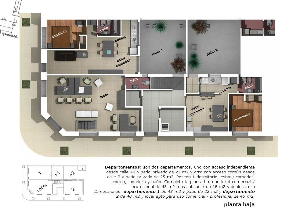baño dormitorio. cocina. patio 1. patio 2. estar comedor. baño. baño. cocina. local. estar comedor.