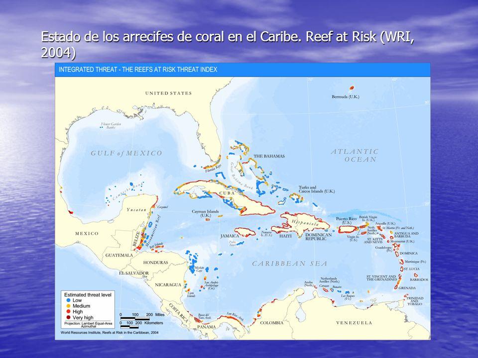Estado de los arrecifes de coral en el Caribe. Reef at Risk (WRI, 2004)