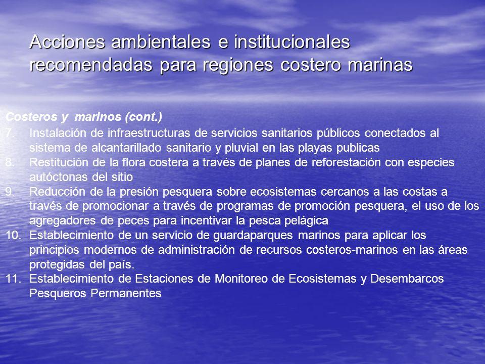 Acciones ambientales e institucionales recomendadas para regiones costero marinas