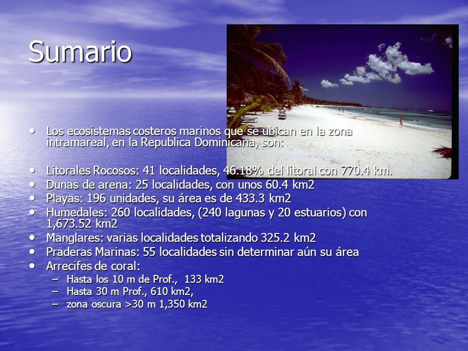 Sumario Los ecosistemas costeros marinos que se ubican en la zona intramareal, en la Republica Dominicana, son: