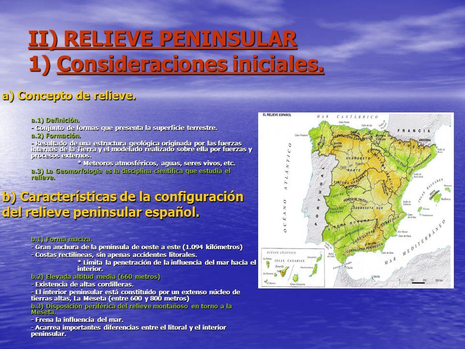 II) RELIEVE PENINSULAR 1) Consideraciones iniciales.