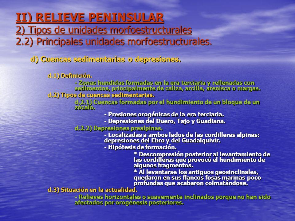 II) RELIEVE PENINSULAR 2) Tipos de unidades morfoestructurales 2