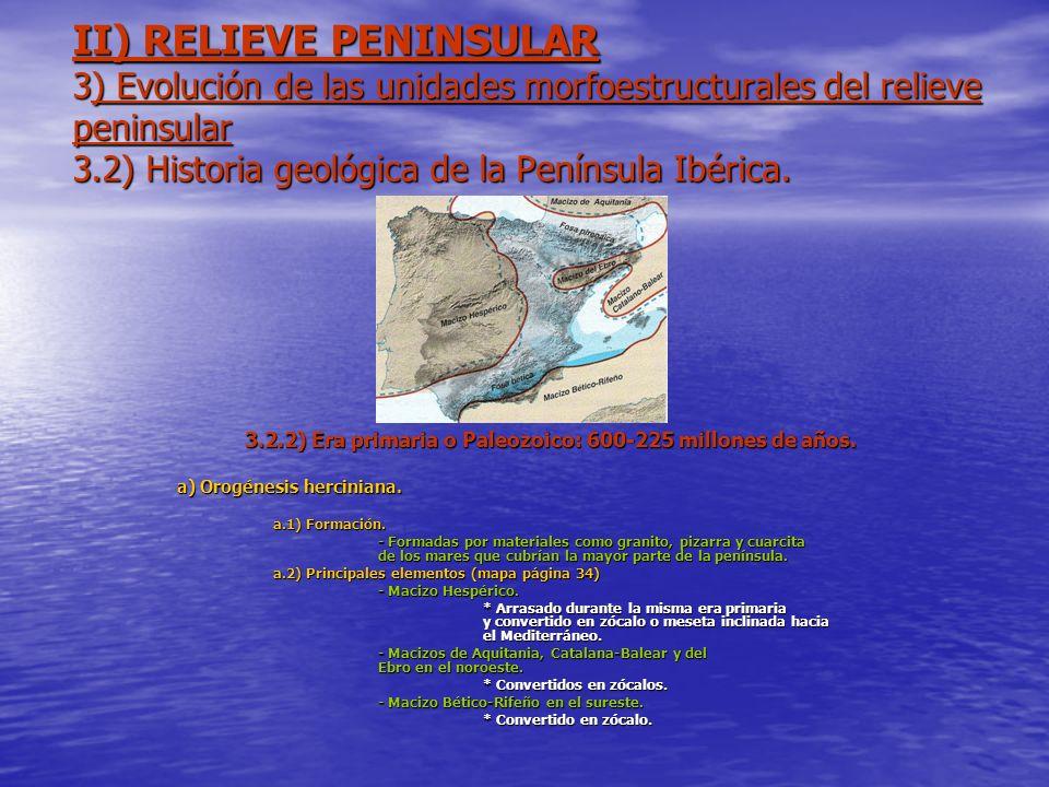 3.2.2) Era primaria o Paleozoico: 600-225 millones de años.