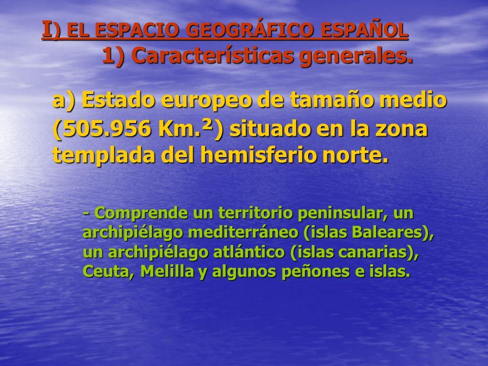 I) EL ESPACIO GEOGRÁFICO ESPAÑOL 1) Características generales.